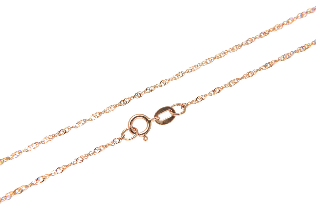 "1MM 14K SOLID PINK ROSE GOLD SINGAPORE CHAIN NECKLACE 16"" 18"" 20"" 22"" 24"""