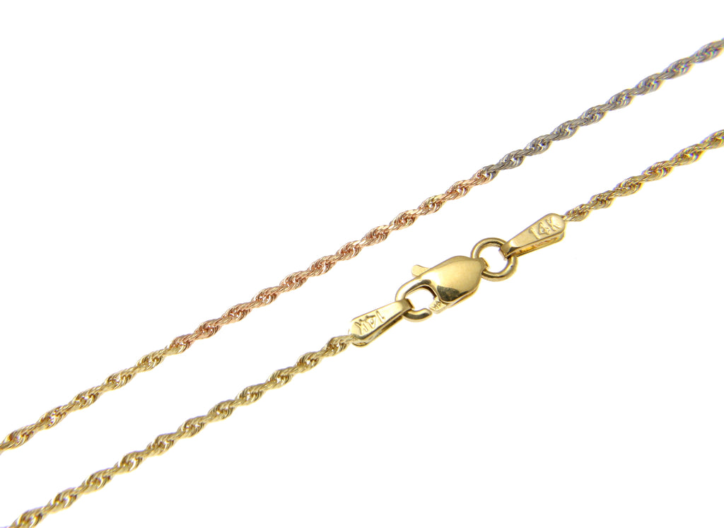 "1.2MM SOLID 14K PINK ROSE YELLOW WHITE GOLD TRICOLOR DIAMOND CUT ROPE CHAIN 16"" 18"" 20"" 22"" 24"""