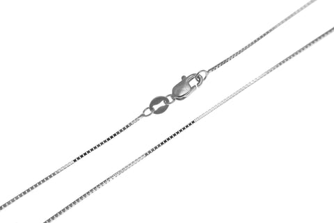 "0.65MM 14K WHITE GOLD SHINY ITALIAN BOX CHAIN NECKLACE LOBSTER CLASP 16""-24"""