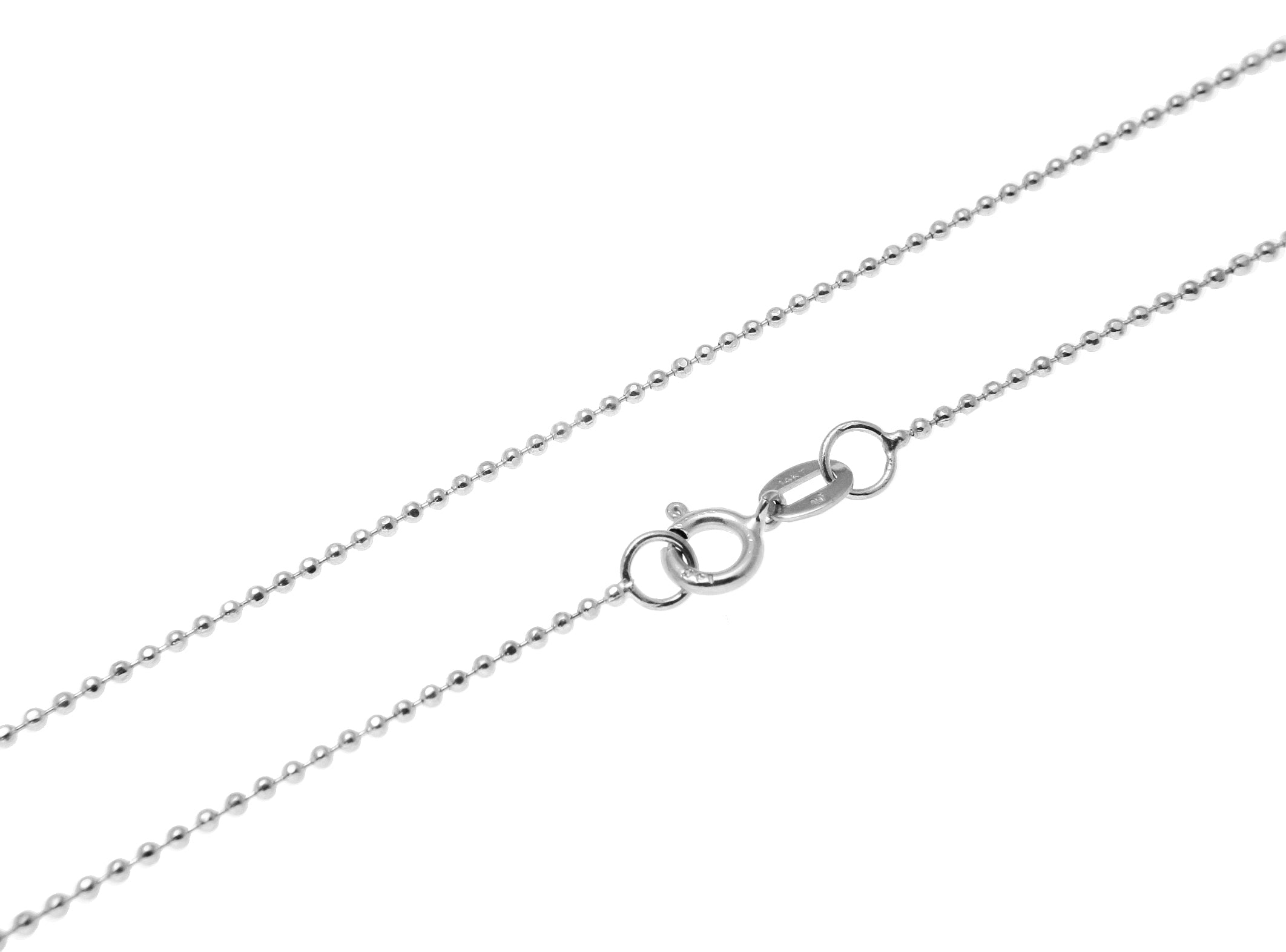 1mm Diamond Cut Bead Ball Chain Necklace Real Solid 14K White Gold