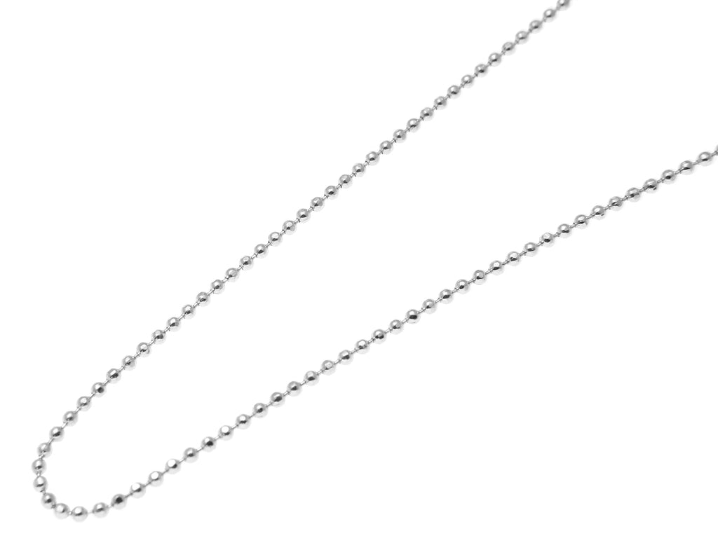 14k solid white gold diamond cut 1mm bead ball chain necklace 16-24