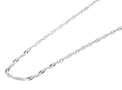 "1MM 14K SOLID WHITE GOLD SINGAPORE CHAIN NECKLACE 16"" 18"" 20"" 22"" 24"""