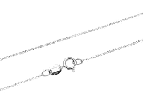 "14K SOLID WHITE GOLD 0.7MM ROPE CHAIN NECKLACE 16"" 18"" 20"""