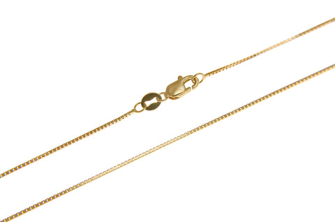 "0.65MM 14K YELLOW GOLD SHINY ITALIAN BOX CHAIN NECKLACE LOBSTER CLASP 16""-24"""