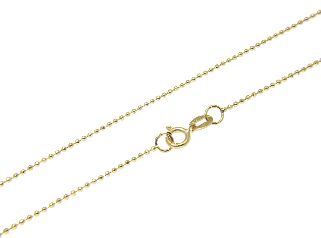 "1MM SOLID 14K YELLOW GOLD DIAMOND CUT BEAD BALL CHAIN NECKLACE 16"" 18"" 20"" 22 24"