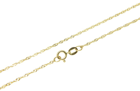 "1MM 14K SOLID YELLOW GOLD SINGAPORE CHAIN NECKLACE 16"" 18"" 20"" 22"" 24"""