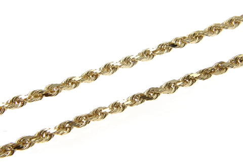 "2.5MM SOLID 14K YELLOW GOLD DIAMOND CUT ROPE CHAIN NECKLACE 22"" 24"" 30"""