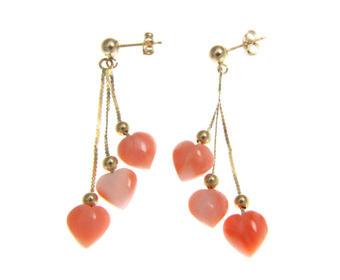 GENUINE PINK CORAL HEART TRIPLE DANGLE EARRINGS SOLID 14K YELLOW GOLD