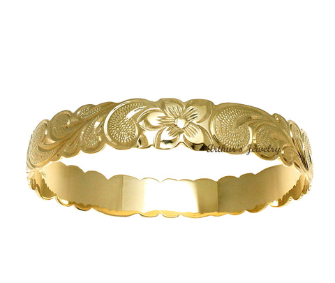 14K YELLOW GOLD 12MM CUSTOM MADE HAWAIIAN PLUMERIA FLOWER SCROLL CUT OUT BANGLE