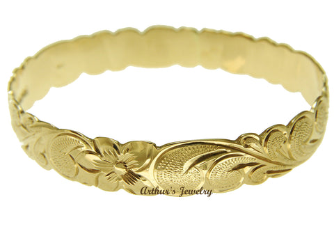 14K Yellow Gold Custom Made Classic Hawaiian Heirloom Scroll 10mm Bangle