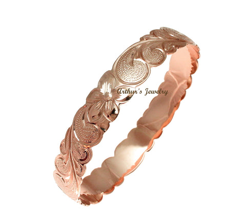 14K Pink Rose Gold Custom Made Classic Hawaiian Heirloom Scroll 8mm Bangle