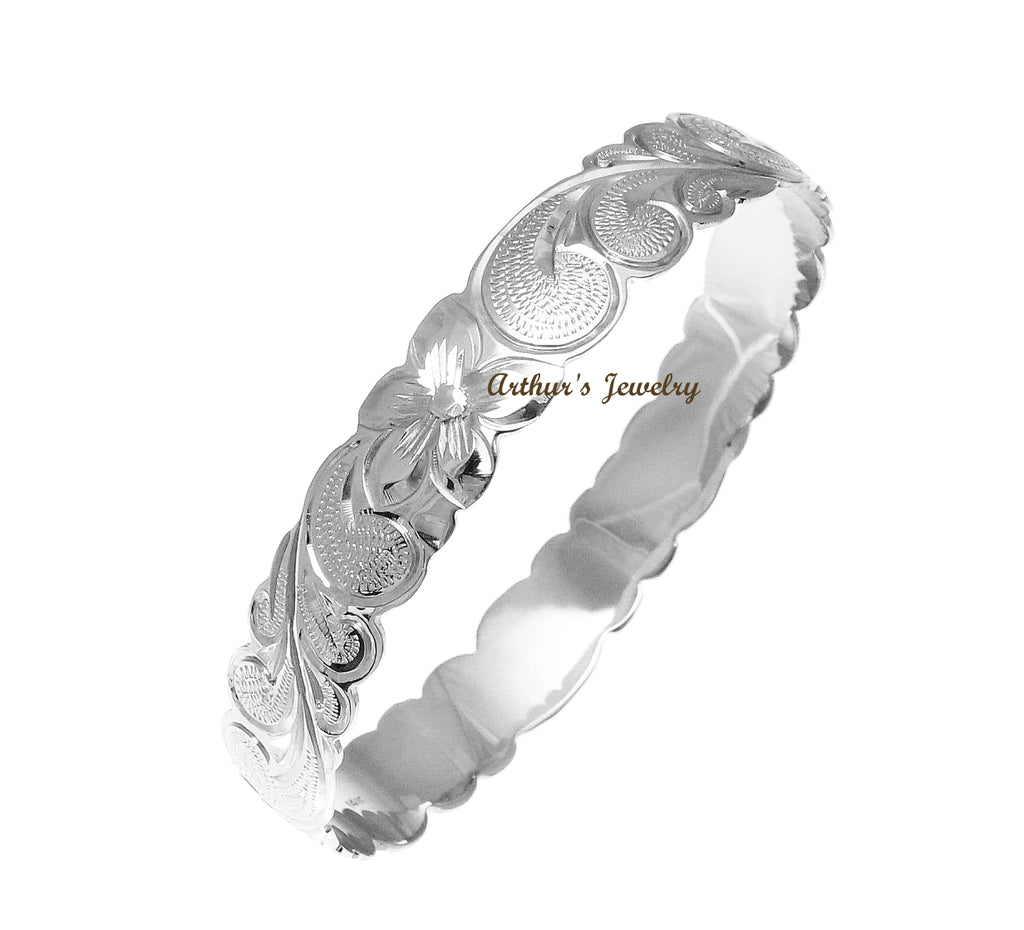 14K White Gold Custom Made Classic Hawaiian Heirloom Scroll 6mm Bangle