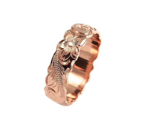 14K ROSE PINK GOLD HAND ENGRAVED HAWAIIAN PLUMERIA SCROLL BAND RING CUT OUT 6MM