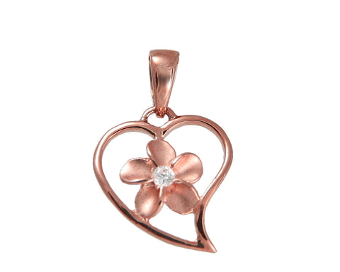 SOLID 14K PINK ROSE GOLD HEART LOVE OUTLINE PLUMERIA FLOWER HAWAIIAN CHARM PENDANT