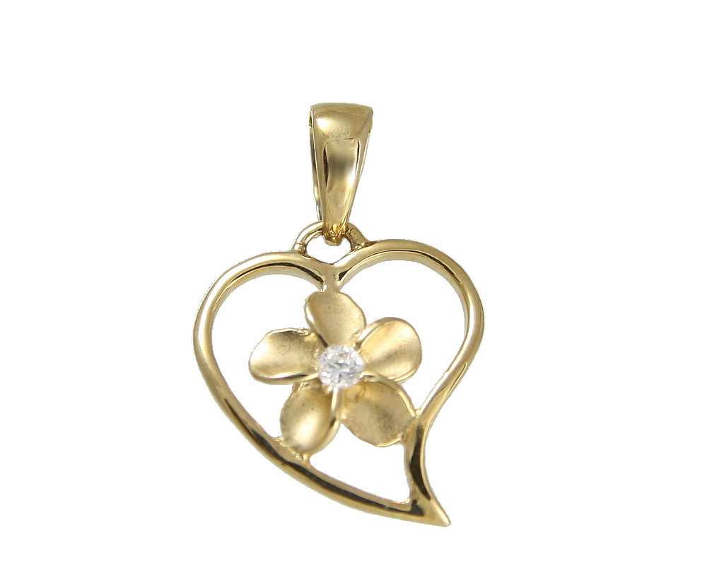 SOLID 14K YELLOW GOLD HEART LOVE OUTLINE PLUMERIA FLOWER HAWAIIAN CHARM PENDANT