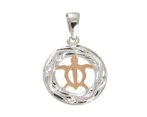 SOLID 14K WHITE GOLD CIRCLE HONU TURTLE PINK ROSE GOLD HAWAIIAN SCROLL PENDANT