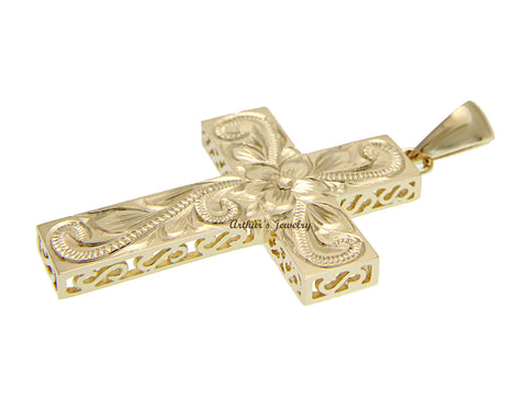 SOLID 14K YELLOW GOLD HAND ENGRAVED HAWAIIAN PLUMERIA SCROLL CROSS  PENDENT