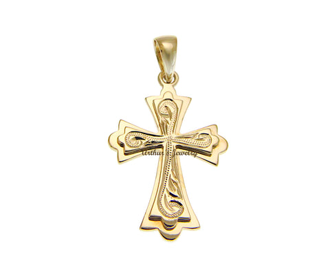SOLID 14K YELLOW GOLD HAND ENGRAVED HAWAIIAN SCROLL RAISED CROSS PENDENT 15.80MM