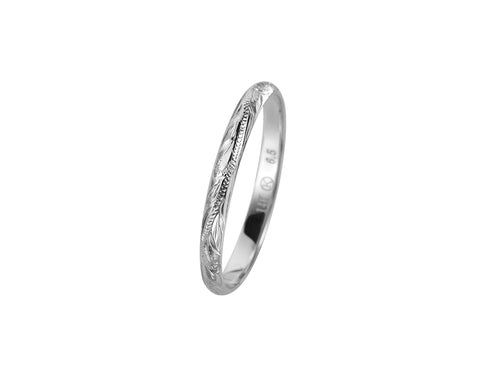 SOLID 14K WHITE GOLD HAND ENGRAVED HAWAIIAN SCROLL BAND RING 3MM