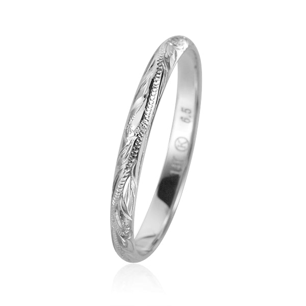 SOLID 14K WHITE GOLD HAND ENGRAVED HAWAIIAN PLUMERIA SCROLL BAND RING 3MM