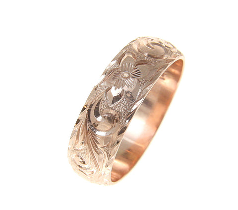 14K ROSE GOLD HAND ENGRAVED HAWAIIAN PLUMERIA SCROLL RING DIAMOND CUT EDGE 8MM