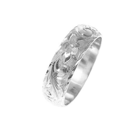 14K WHITE GOLD HAND ENGRAVED HAWAIIAN PLUMERIA SCROLL RING DIAMOND CUT EDGE 6MM