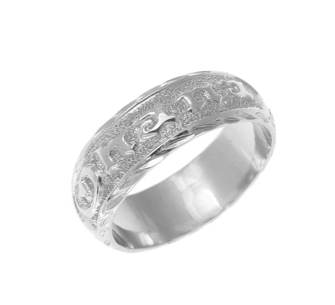 SOLID 14K WHITE GOLD CUSTOM MADE HAWAIIAN PLUMERIA SCROLL RING RAISED LETTER 6MM