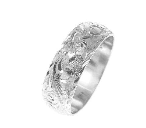 14K WHITE GOLD HAND ENGRAVED HAWAIIAN PLUMERIA SCROLL RING DIAMOND CUT EDGE 8MM