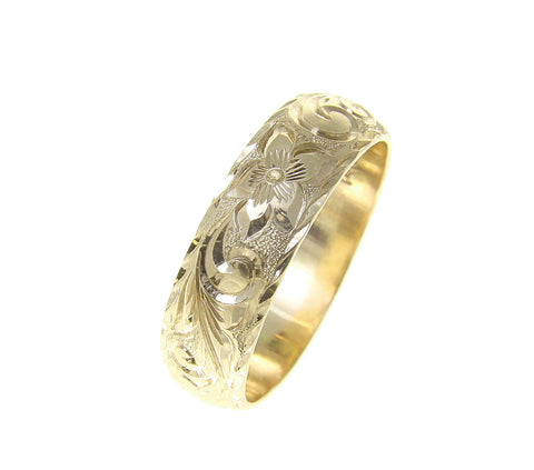 14K YELLOW GOLD HAND ENGRAVED HAWAIIAN PLUMERIA SCROLL RING DIAMOND CUT EDGE 6MM