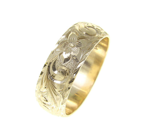 14K YELLOW GOLD HAND ENGRAVED HAWAIIAN PLUMERIA SCROLL RING DIAMOND CUT EDGE 8MM