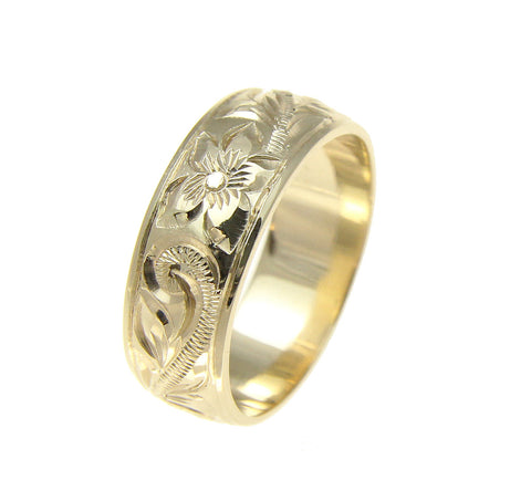 14K YELLOW GOLD HAND ENGRAVED HAWAIIAN PLUMERIA SCROLL BAND RING SMOOTH EDGE 8MM