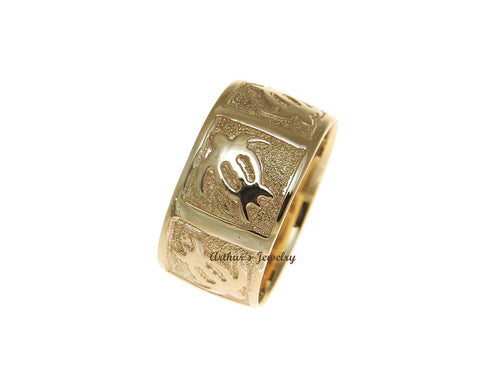 14K SOLID YELLOW GOLD 10MM CUSTOM MADE HAWAIIAN HONU TURTLE PERSONALIZED RING