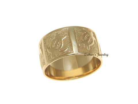 14K SOLID YELLOW GOLD 8MM CUSTOM MADE PERSONALIZED HAWAIIAN HONU TURTLE RING