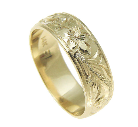 14K YELLOW GOLD HAND ENGRAVED HAWAIIAN PLUMERIA SCROLL BAND RING SMOOTH EDGE 6MM