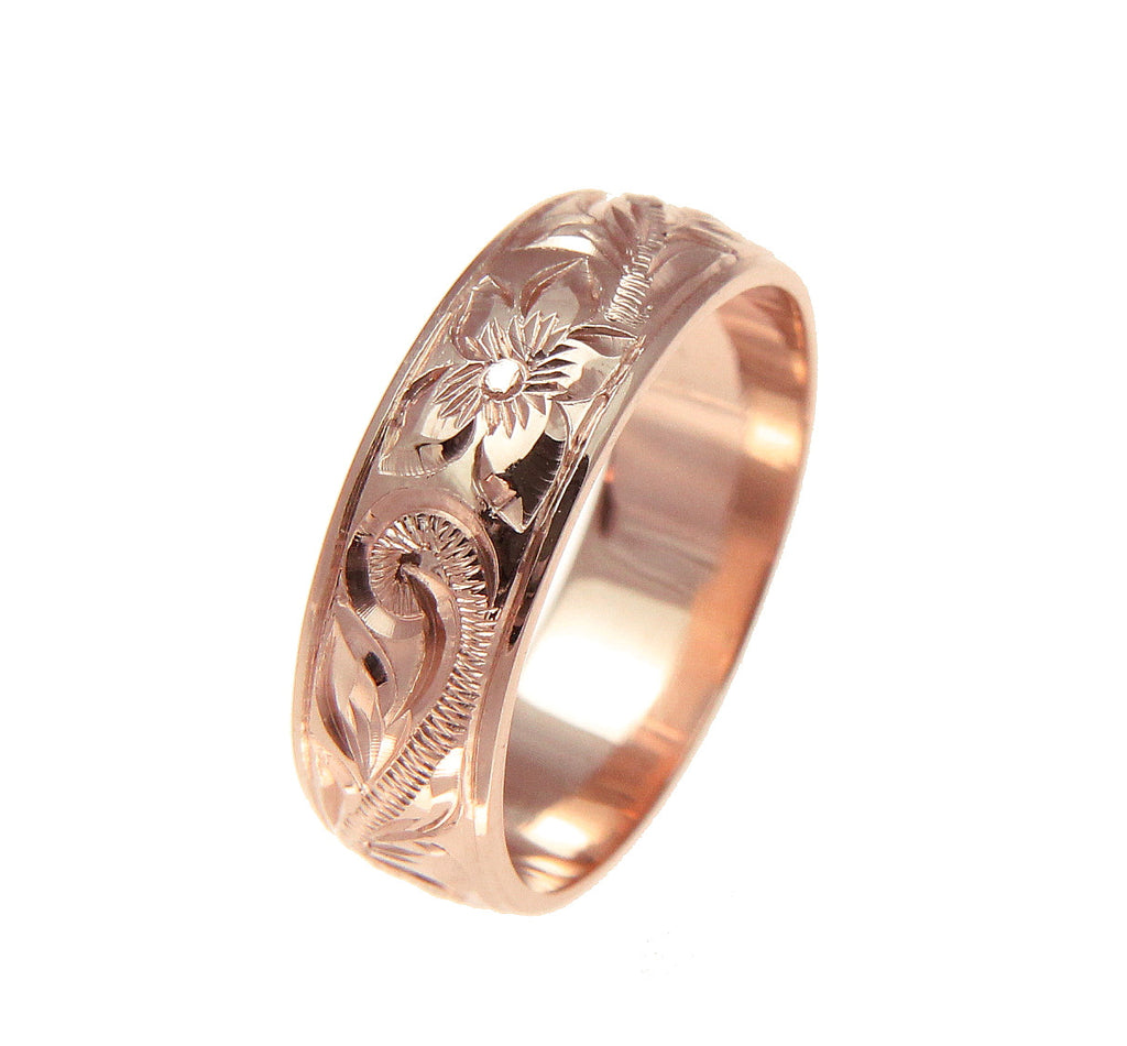 14K ROSE GOLD HAND ENGRAVED HAWAIIAN PLUMERIA SCROLL BAND RING SMOOTH EDGE 6MM