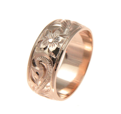 14K ROSE GOLD HAND ENGRAVED HAWAIIAN PLUMERIA SCROLL BAND RING SMOOTH EDGE 8MM