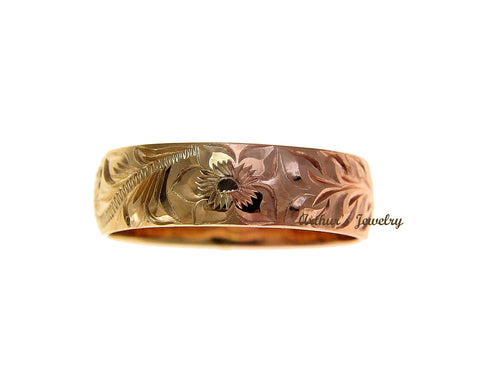 14K YELLOW ROSE GOLD 2 TONE CUSTOM HAND ENGRAVED HAWAIIAN SCROLL MAILE 6MM RING SIZE 2 TO 14