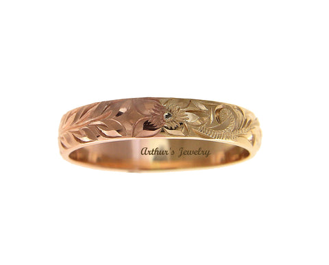 14K YELLOW ROSE GOLD 2 TONE CUSTOM HAND ENGRAVED HAWAIIAN SCROLL MAILE 4MM RING SIZE 2 TO 14