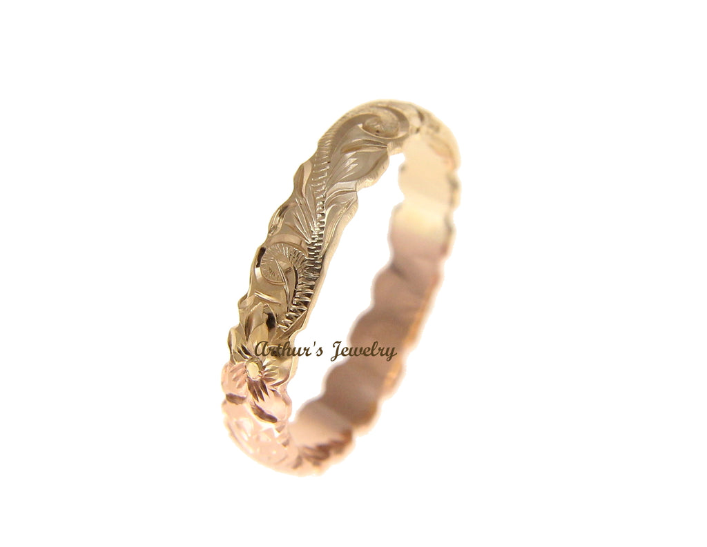 14K YELLOW ROSE GOLD CUSTOM HAND ENGRAVED HAWAIIAN SCROLL MAILE RING CUT OUT 4MM