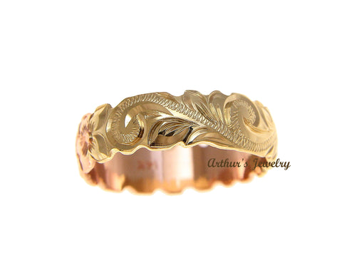 14K YELLOW ROSE GOLD 2 TONE CUSTOM HAND ENGRAVED HAWAIIAN SCROLL MAILE RING 6MM CUT OUT SIZE 2 to 14