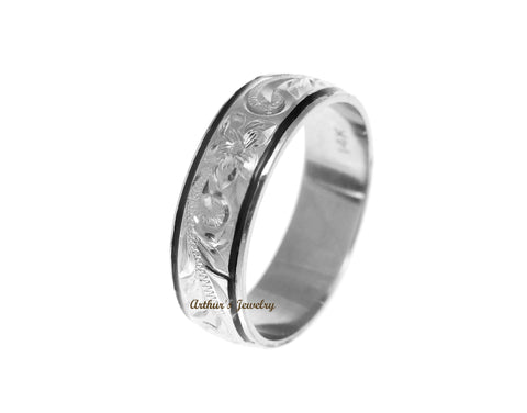 14K WHITE GOLD CUSTOM MADE HAWAIIAN PLUMERIA SCROLL 6MM BLACK ENAMEL EDGE RING