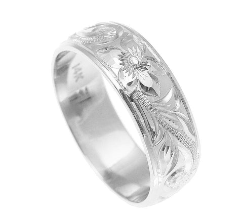 14K WHITE GOLD HAND ENGRAVED HAWAIIAN PLUMERIA SCROLL BAND RING SMOOTH EDGE 6MM