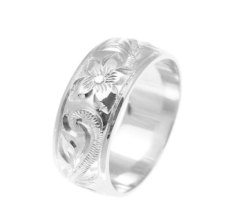 14K WHITE GOLD HAND ENGRAVED HAWAIIAN PLUMERIA SCROLL BAND RING SMOOTH EDGE 8MM
