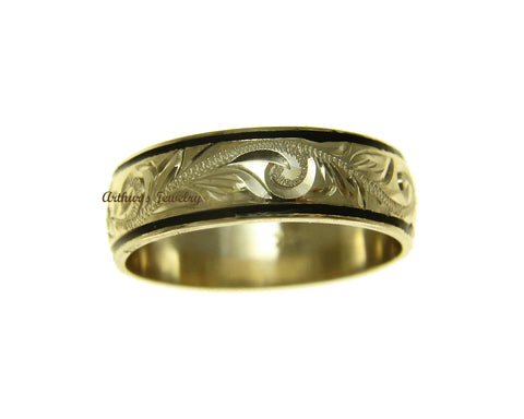 14K YELLOW GOLD CUSTOM MADE HAWAIIAN PLUMERIA SCROLL 6MM BLACK ENAMEL EDGE RING