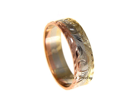 14K YELLOW WHITE ROSE TRICOLOR GOLD HAND ENGRAVED HAWAIIAN PLUMERIA SCROLL 6MM RING