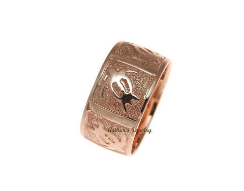 14K SOLID PINK ROSE GOLD 10MM CUSTOM MADE HAWAIIAN HONU TURTLE PERSONALIZED RING