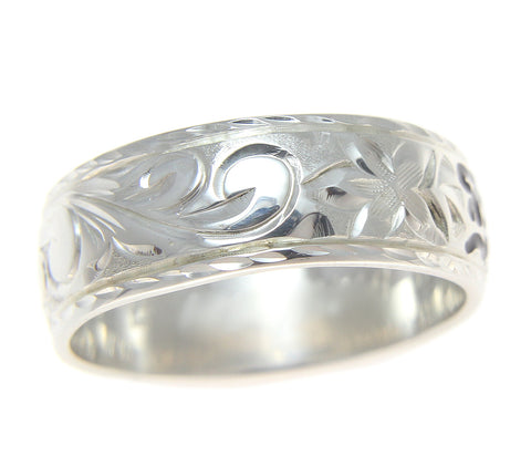 14K SOLID WHITE GOLD PERSONALIZED CUSTOM MADE 8MM HAWAIIAN RING BLACK ENAMEL