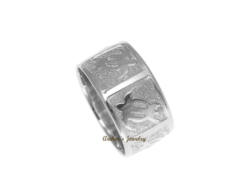 14K SOLID WHITE GOLD 8MM CUSTOM MADE PERSONALIZED HAWAIIAN HONU TURTLE RING
