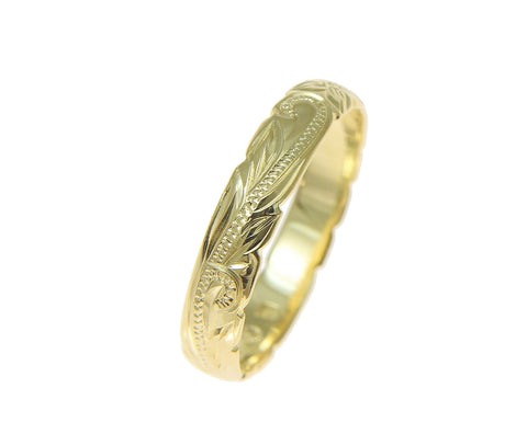 14K YELLOW GOLD CUSTOM HAND ENGRAVED HAWAIIAN PRINCESS PLUMERIA SCROLL CUT OUT EDGE BAND RING 4MM
