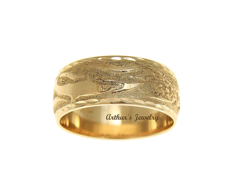 14K SOLID YELLOW GOLD 10MM CUSTOM MADE HAWAIIAN SEA LIFE TURTLE DOLPHIN RING